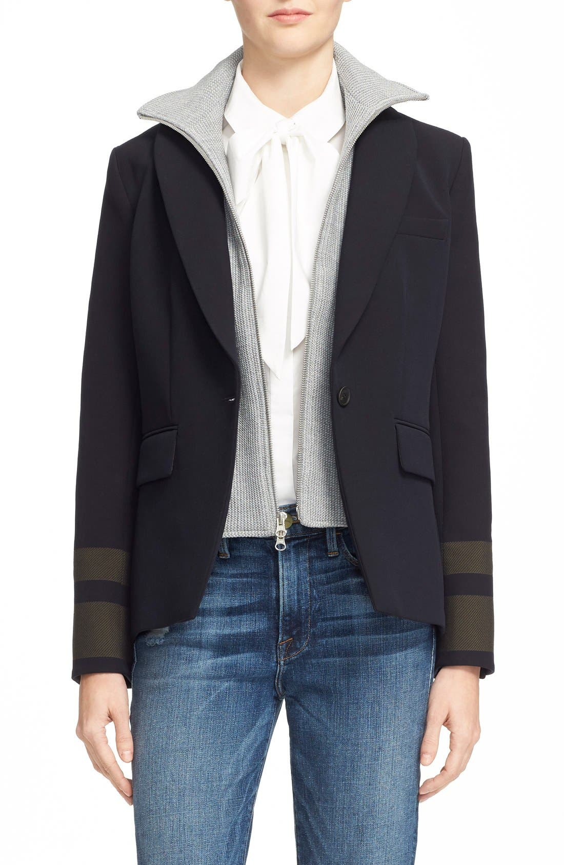 Cutaway Jacket with Removable Knit Dickey,                         Main,                         color, Navy/ Army