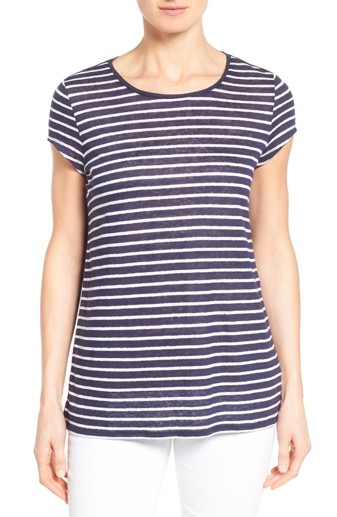 Alternate Image 1 Selected - Nordstrom Collection Cap Sleeve Stripe Linen Tee