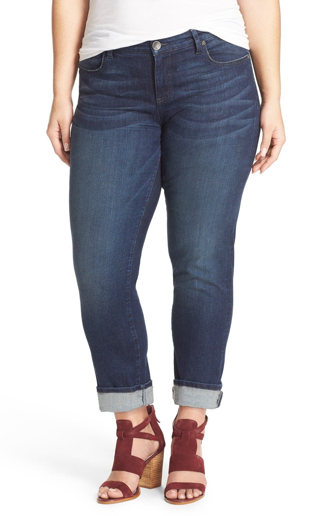 'Catherine' Stretch Boyfriend Jeans,                             Main thumbnail 1, color,                             Carefulness