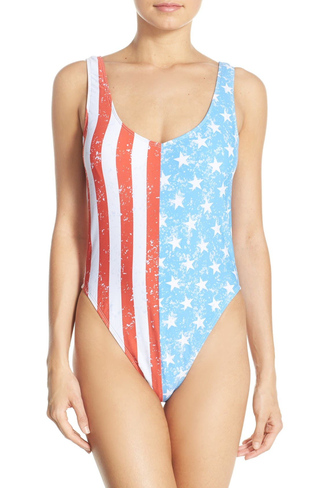 'American Flag - Stars & Stripes' One-Piece Swimsuit,                             Main thumbnail 1, color,                             Blue Multi