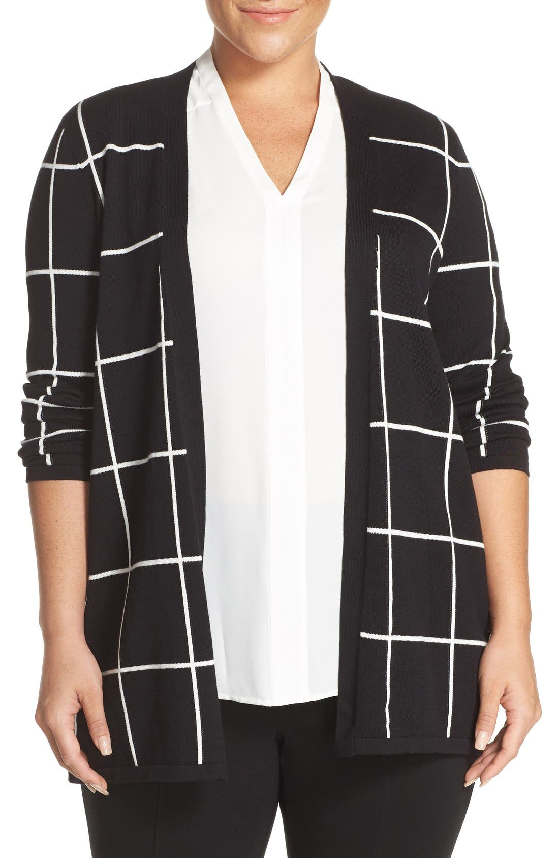 Main Image - Vince Camuto Windowpane Intarsia Open Front Cardigan (Plus Size)