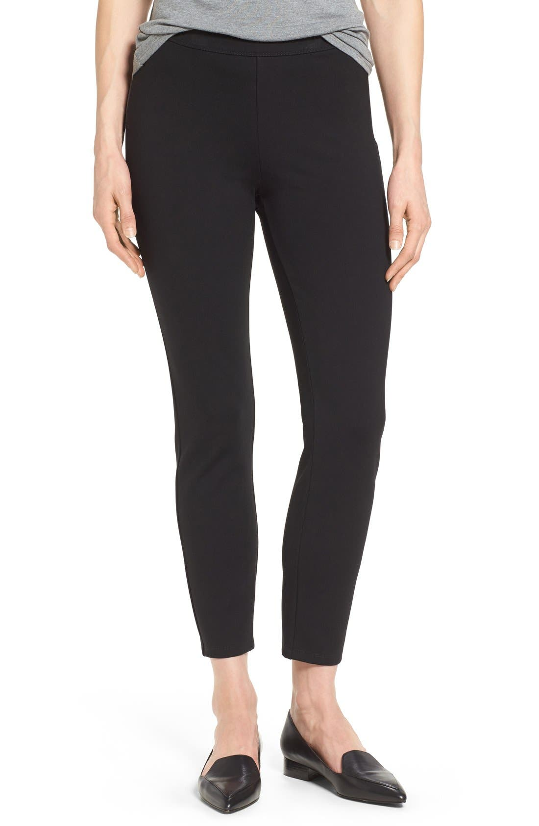 Side Zip Ponte Ankle Pants,                             Main thumbnail 1, color,                             Black