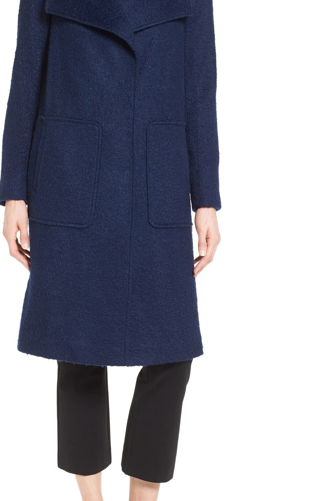 Textured Long Coat,                             Alternate thumbnail 5, color,                             Evening Blue