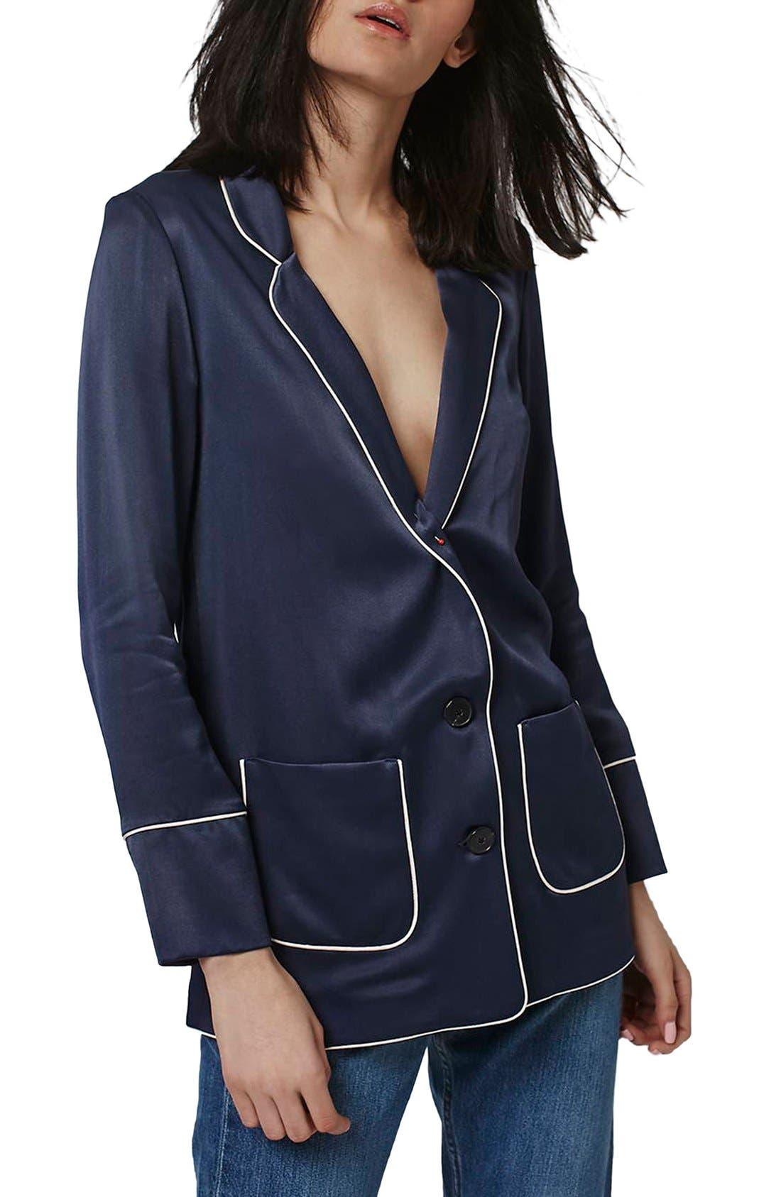 Main Image - Topshop Satin Pajama Style Jacket