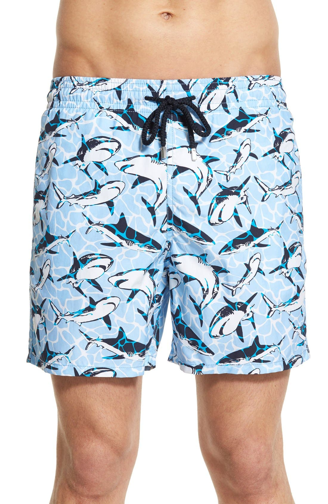 'Moorea - Sharks' Swim Trunks,                             Main thumbnail 1, color,                             Sky Blue