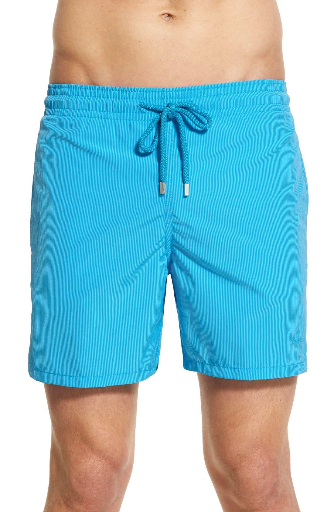 'Morio' Stripe Swim Trunks,                         Main,                         color, Swimming Pool