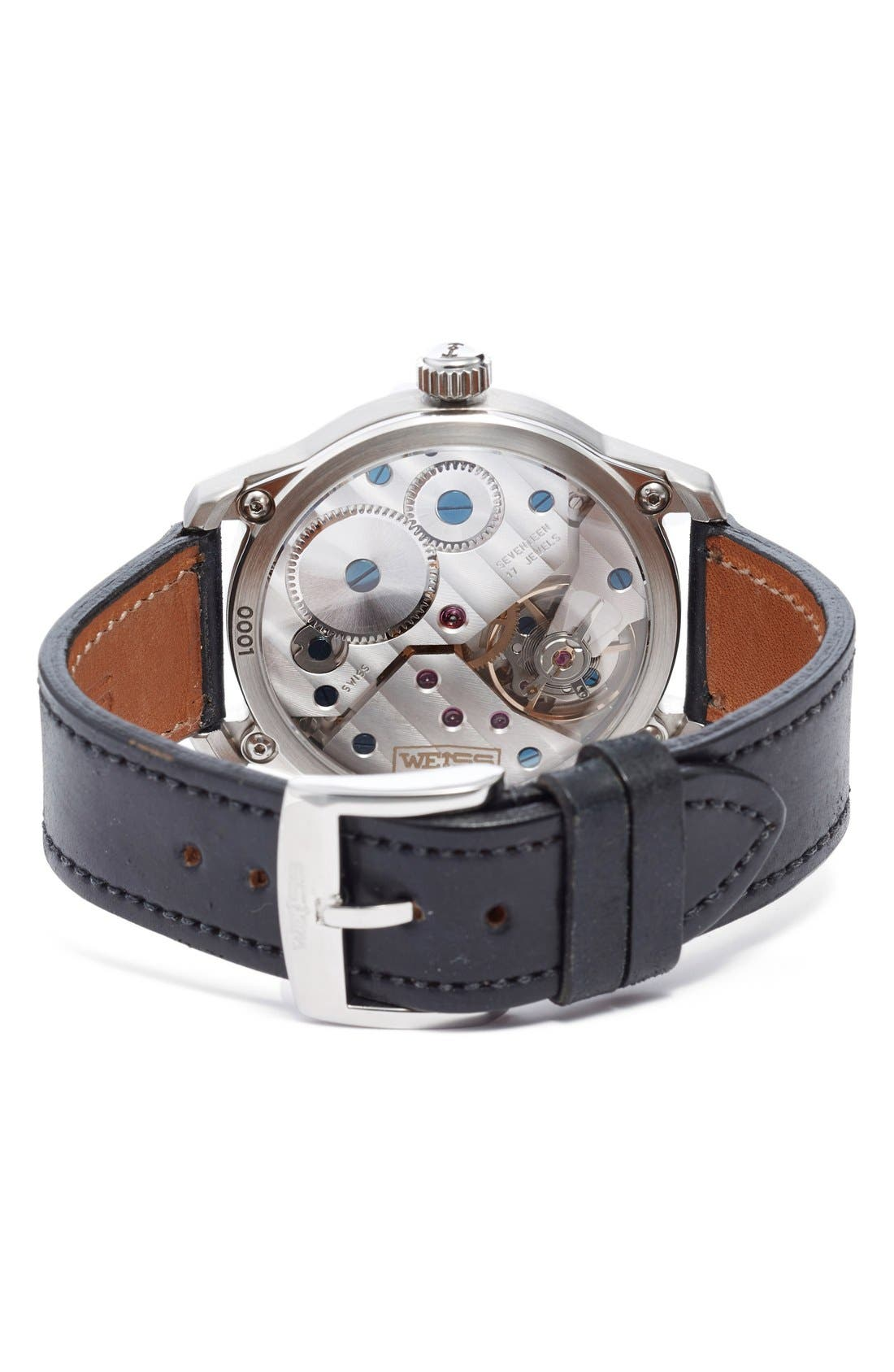 Alternate Image 4  - Weiss Watch Company 'Special Issue' Leather Strap Watch, 42mm