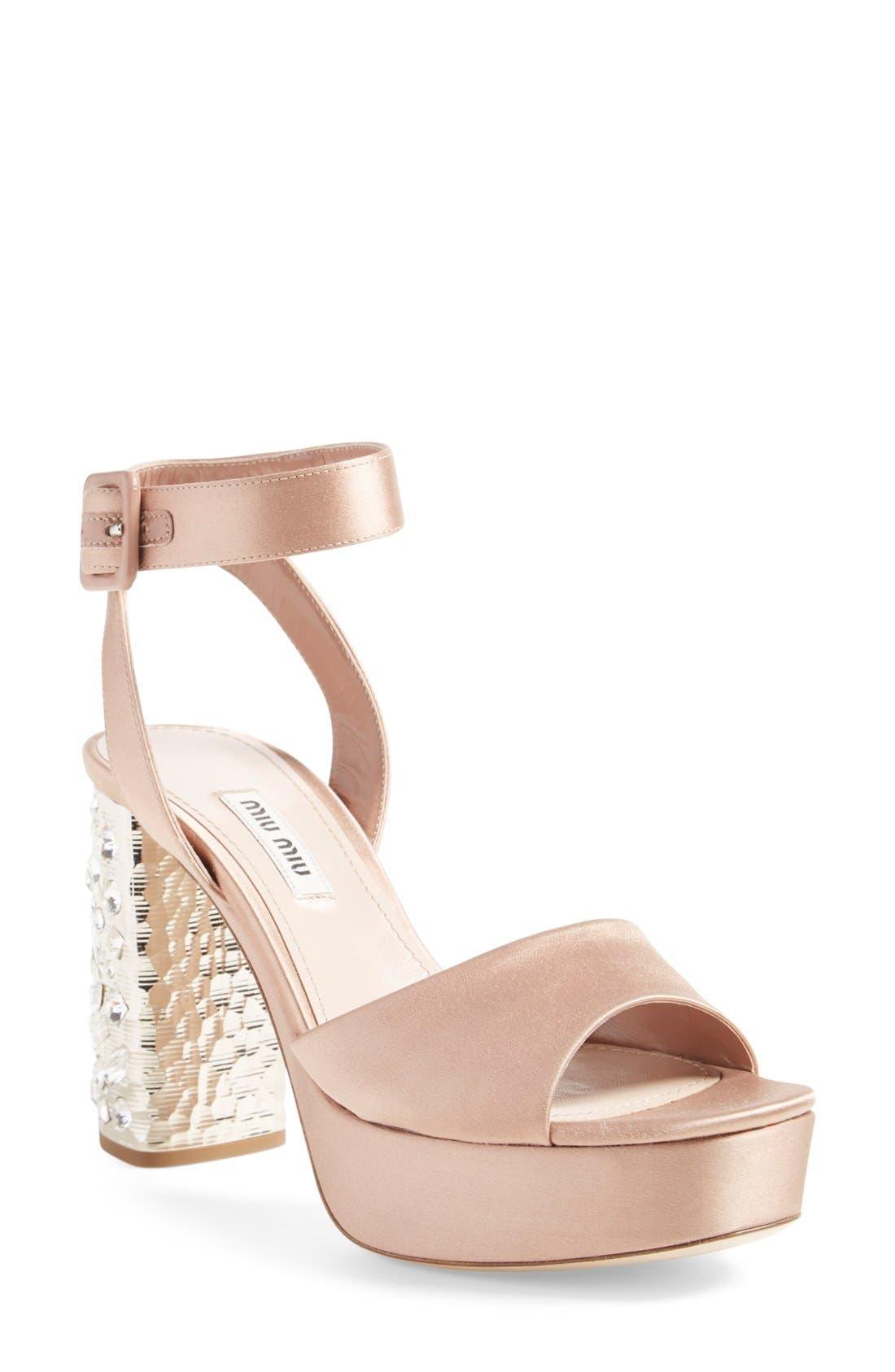 Studded Block Heel Platform Sandal,                         Main,                         color, Nude Suede
