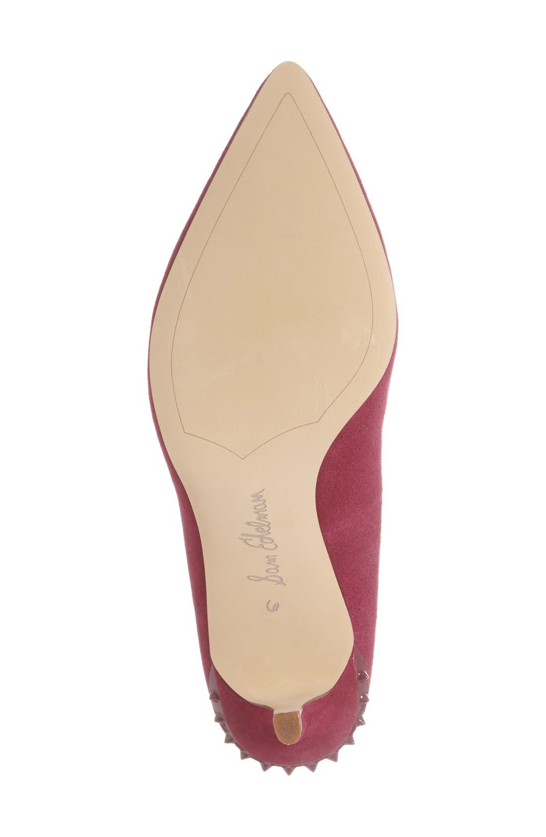 'Tonia' Spike Rand Pointy Toe Pump,                             Alternate thumbnail 4, color,                             Pink Suede
