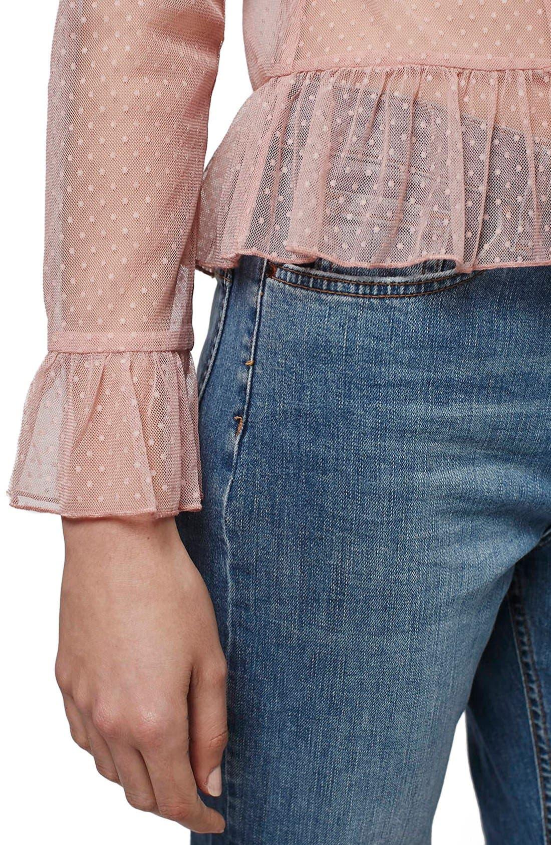 Alternate Image 3  - Topshop Sheer Lace Ruffle Hem Top