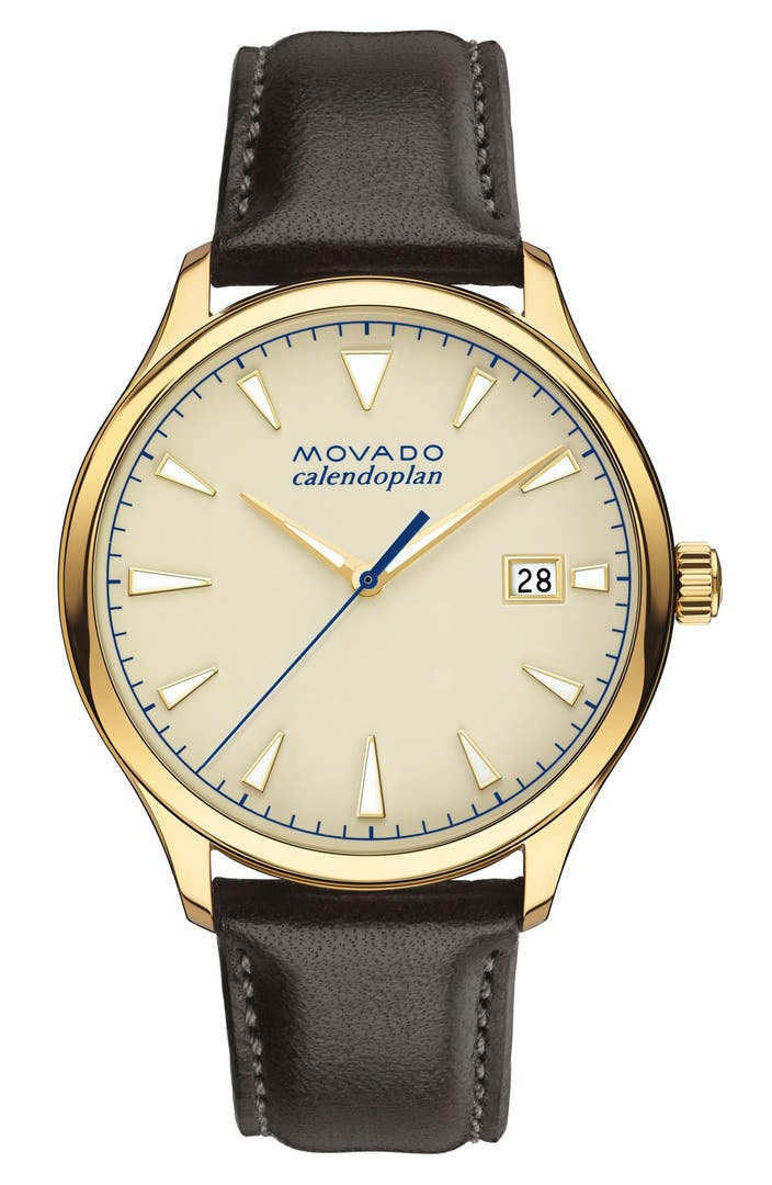 Movado 39 heritage 39 leather strap watch 40mm nordstrom for Watches 40mm
