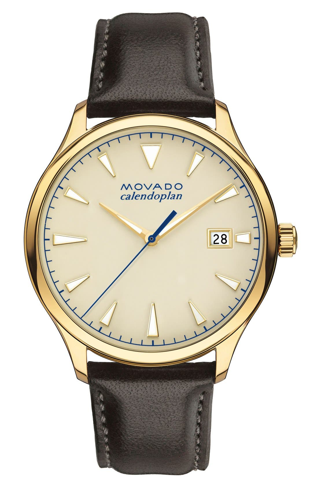 Movado 'Heritage' Leather Strap Watch, 40mm
