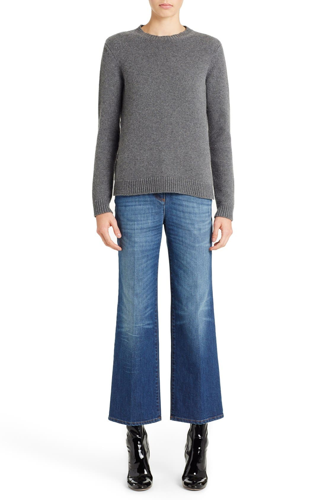 Studded Crewneck Cashmere Sweater,                         Main,                         color, Grey
