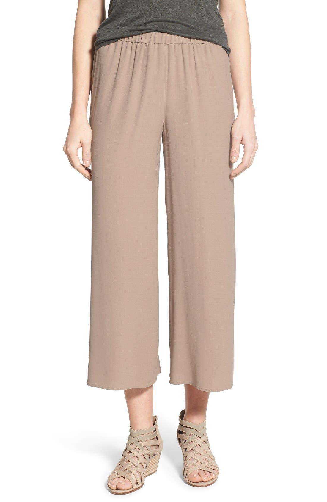 Alternate Image 1 Selected - Eileen Fisher Silk Wide Leg Crop Pants (Regular & Petite)