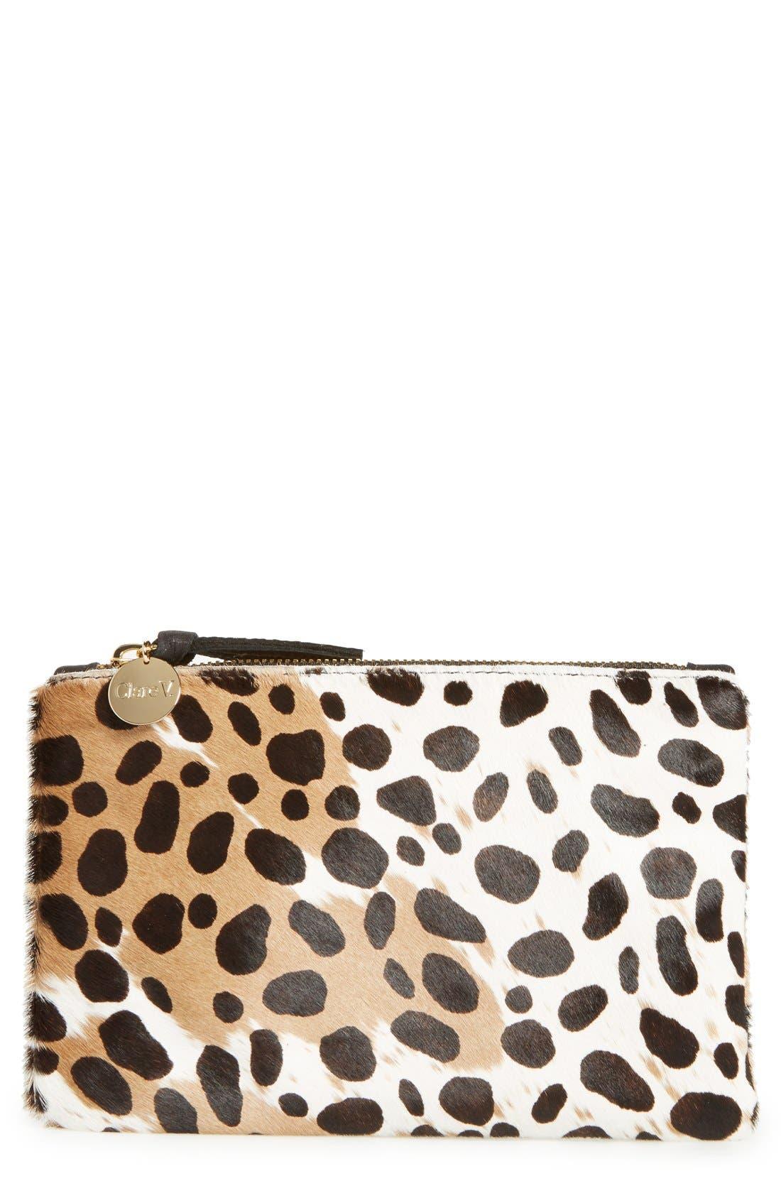 CLARE V. Core Leopard Print Genuine Calf Hair Pouch