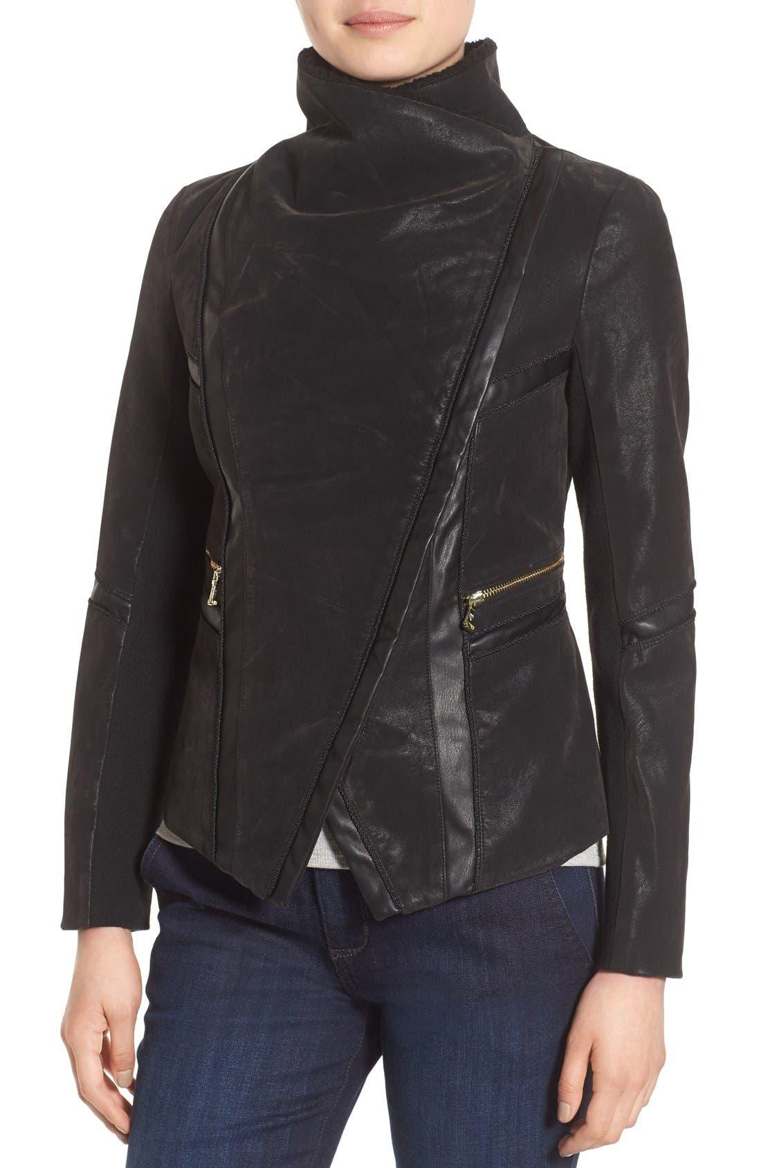 Faux Leather Moto Jacket with Faux Fur Trim,                             Alternate thumbnail 4, color,                             Black