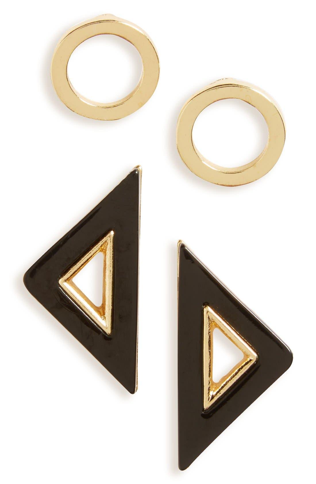 Main Image - Topshop Circle & Triangle Stud Earrings (Set of 2)