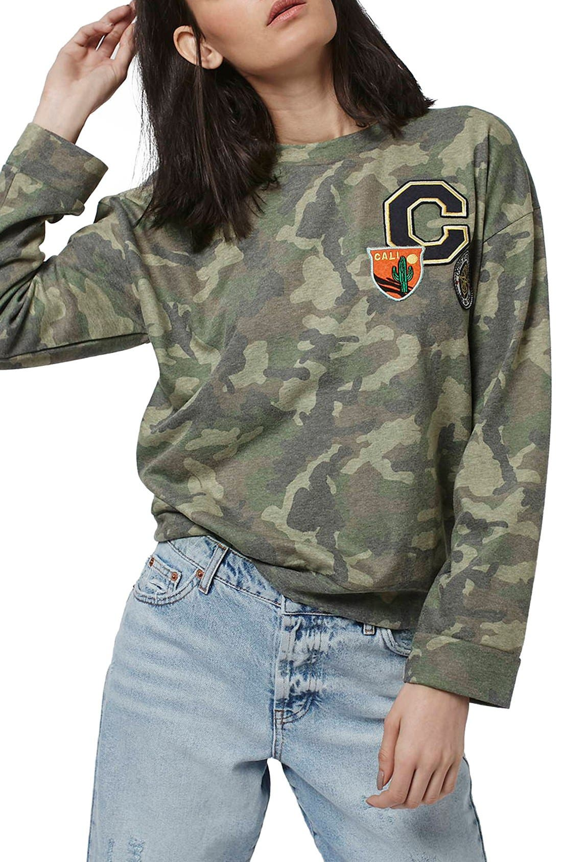 Main Image - Topshop Camo Print Patch Sweatshirt