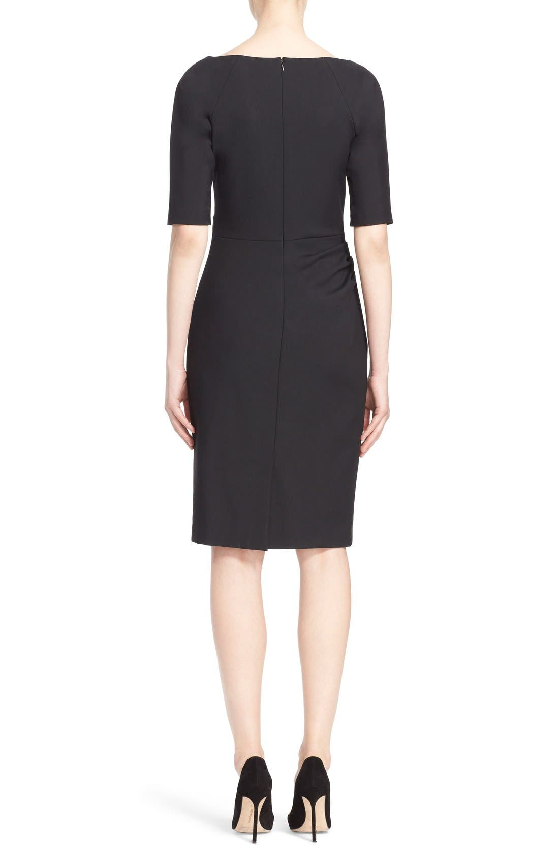 Side Ruched Stretch Twill Dress,                             Alternate thumbnail 2, color,                             Black