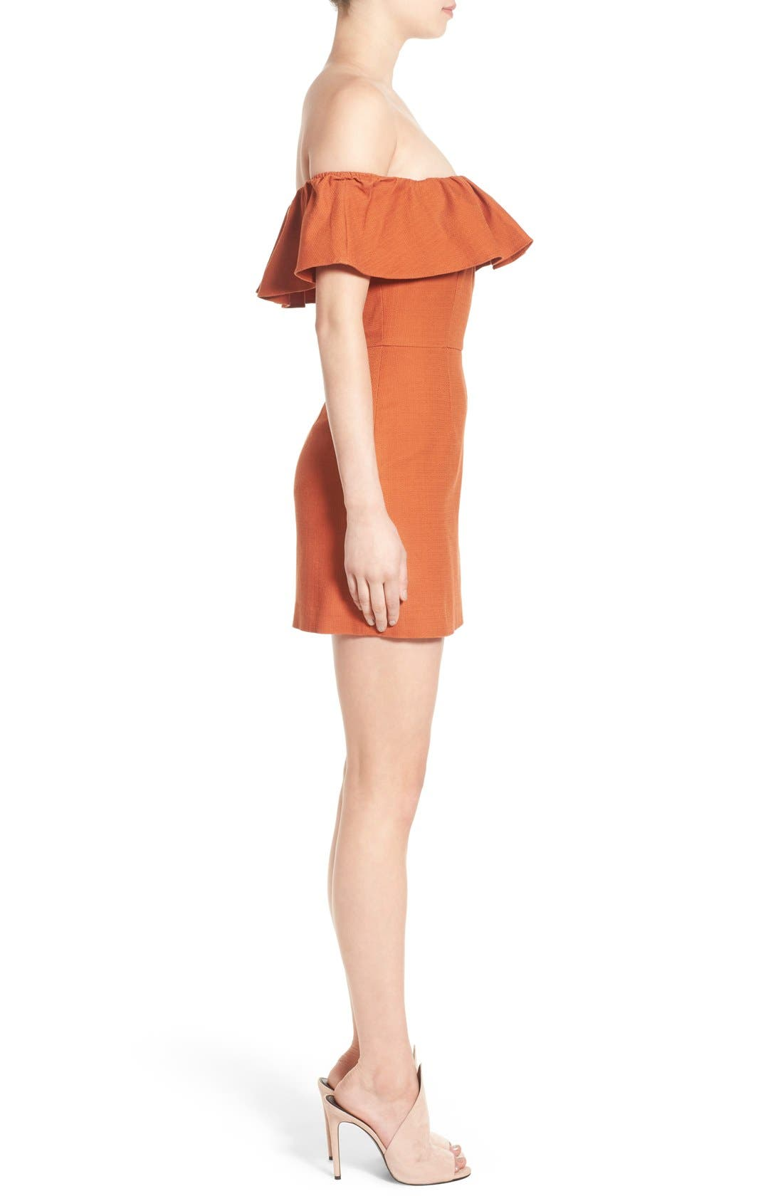 Alternate Image 3  - KENDALL + KYLIE Ruffle Off the Shoulder Minidress
