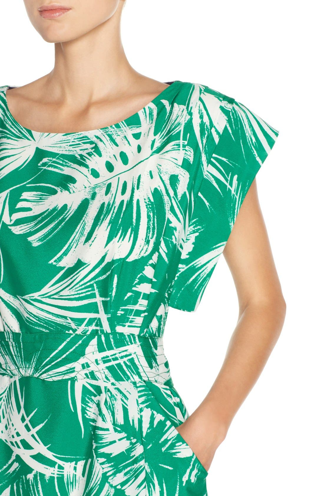 Palm Print Crêpe de Chine Shift Dress,                             Alternate thumbnail 5, color,                             Green Ivory