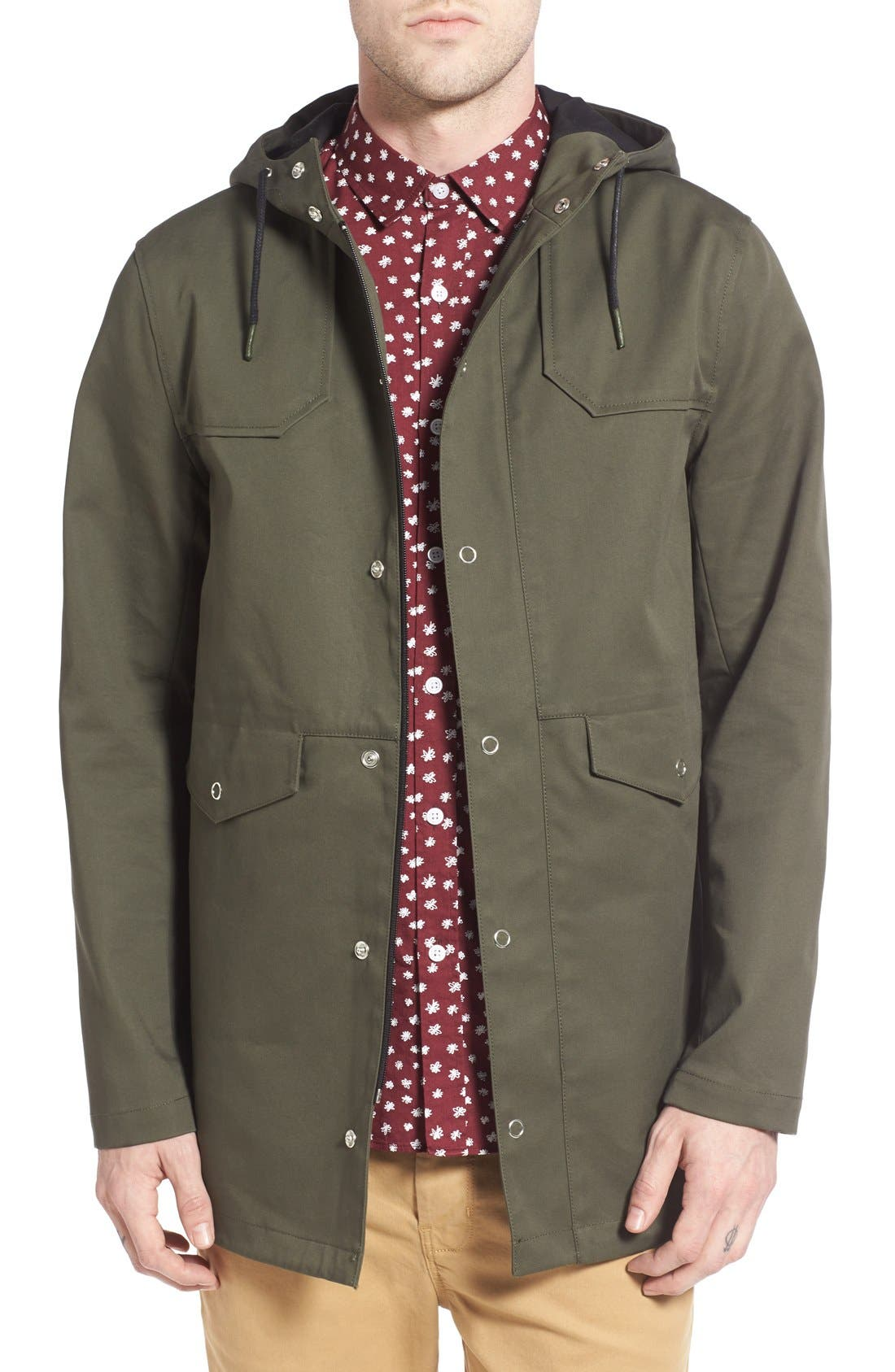 Bonded & Coated Cotton Fishtail Parka,                         Main,                         color, Dark Green