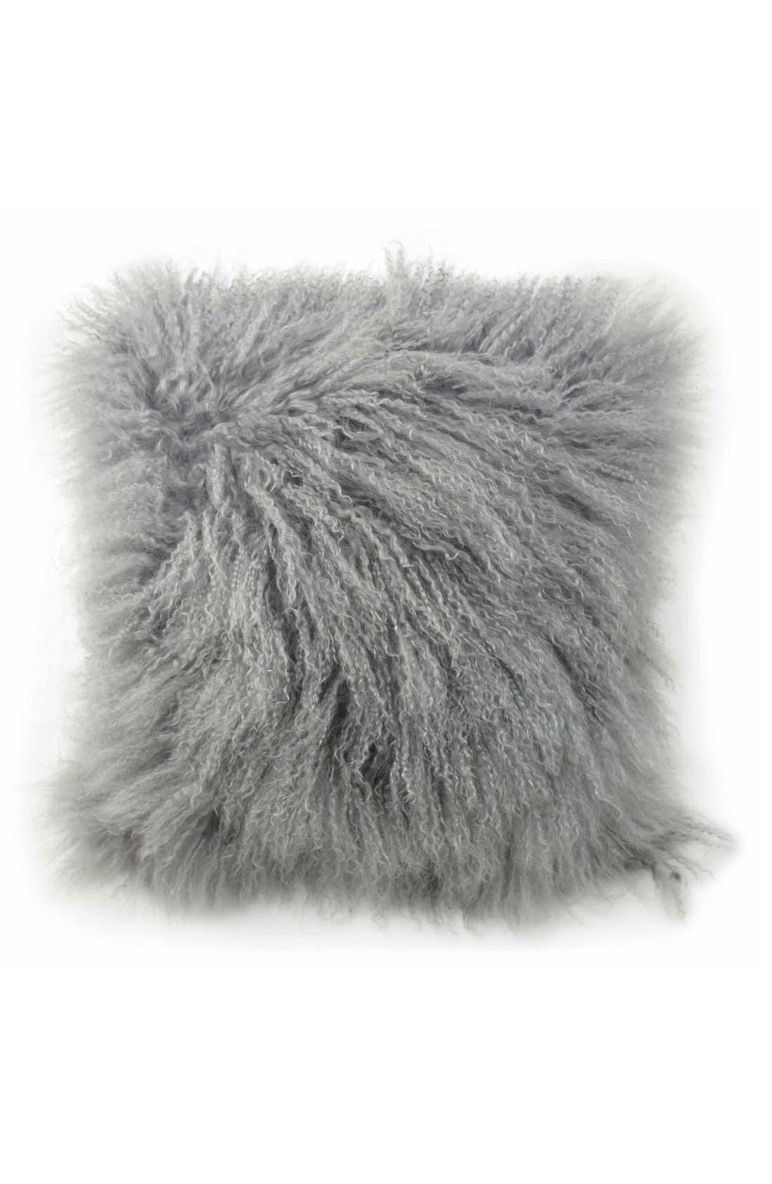 Tanzania Halima Genuine Shearling Pillow,                             Main thumbnail 1, color,                             Grey
