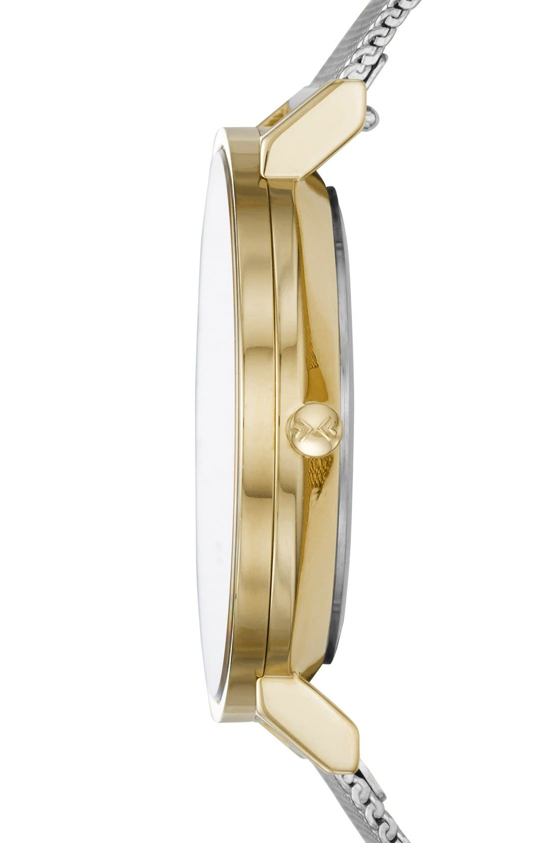 'Hald' Round Mesh Strap Watch, 34mm,                             Alternate thumbnail 3, color,                             Silver/ White/ Gold