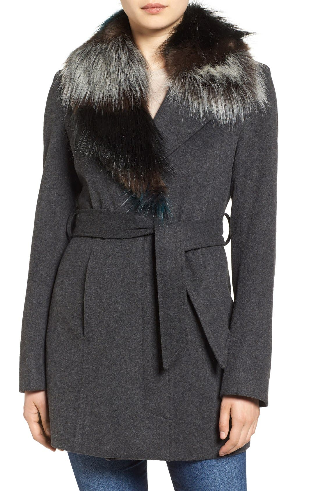 Main Image - Sam Edelman Wool Coat with Removable Faux Fur Collar