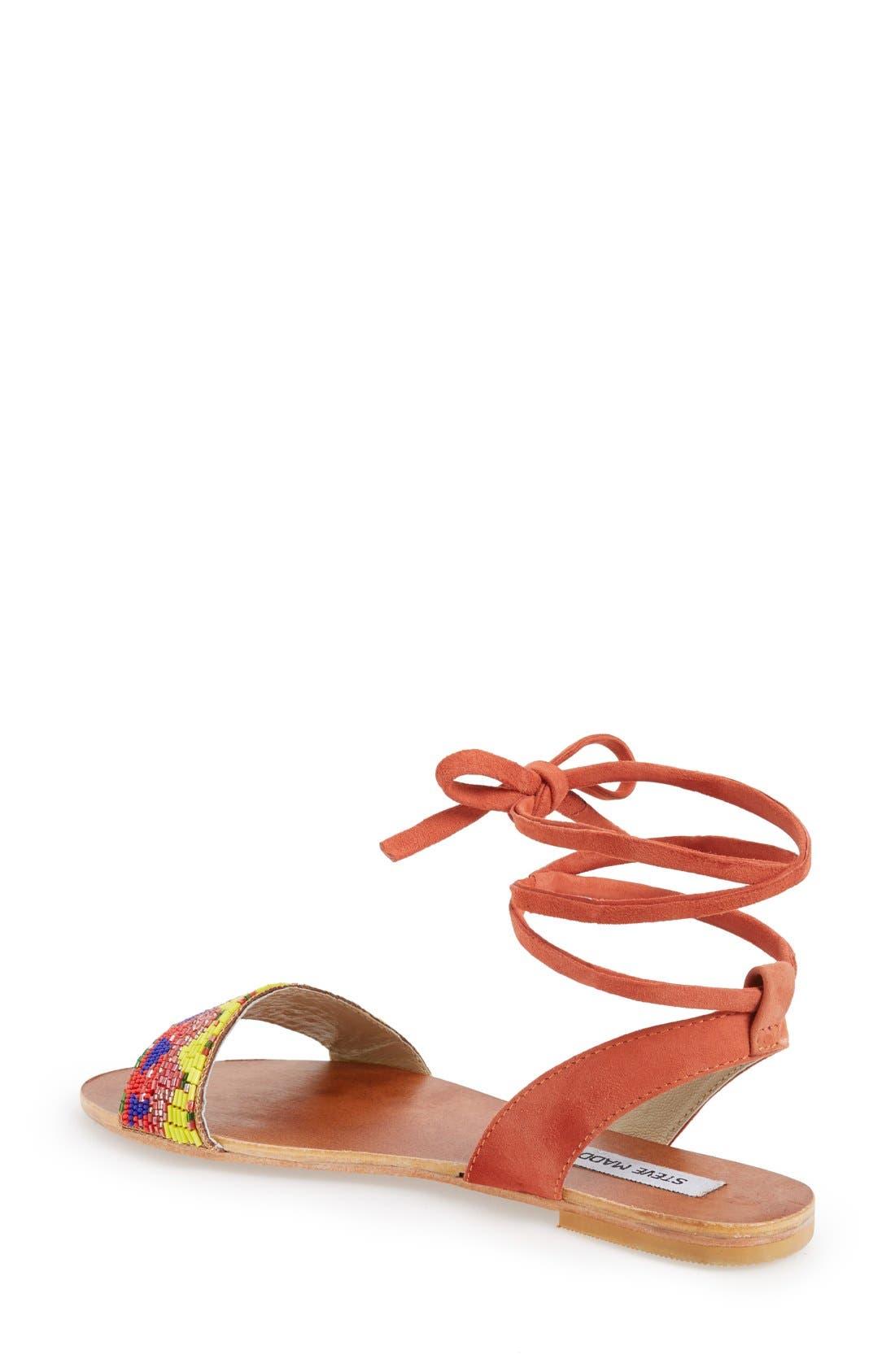 'Shaney' Beaded Wraparound Lace Sandal,                             Alternate thumbnail 2, color,                             Bright Multi