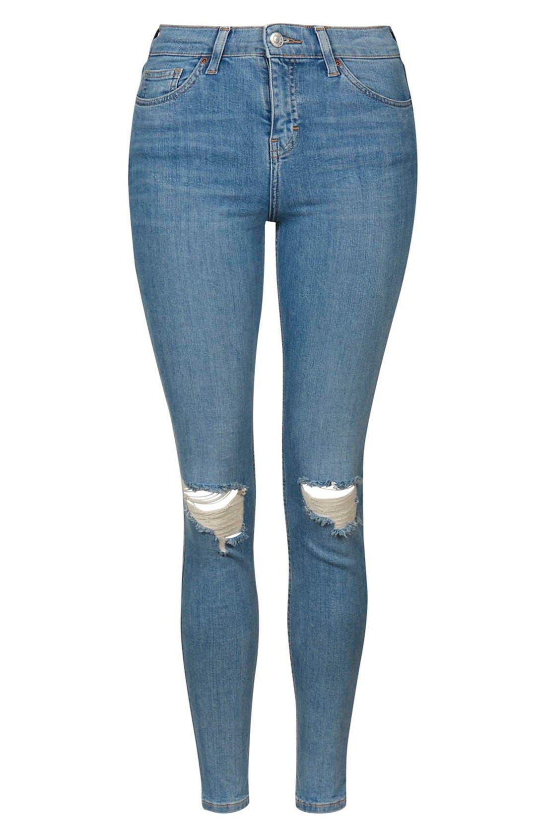 Alternate Image 4  - Topshop 'Jamie' Distressed Skinny Jeans (Petite)