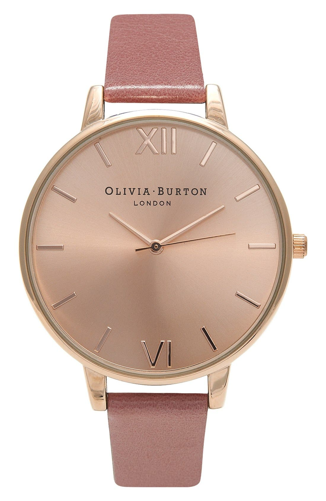Big Dial Leather Strap Watch, 38mm,                         Main,                         color, Rose/ Rose Gold