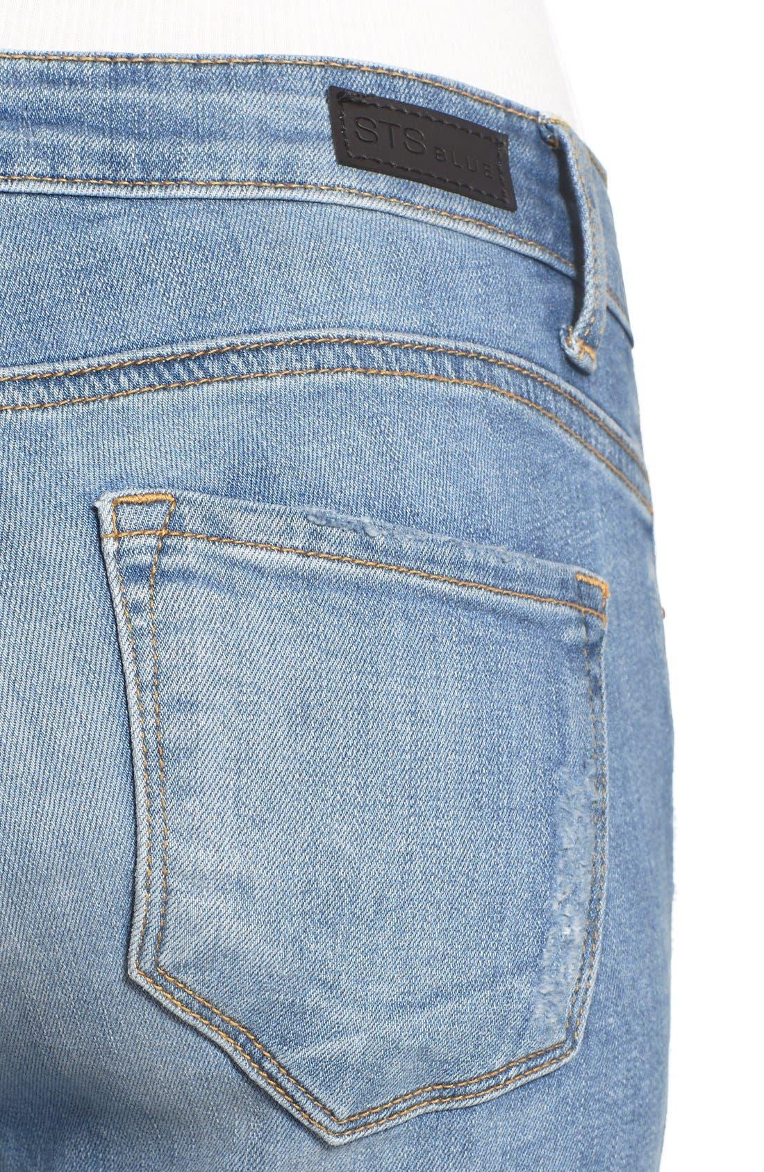 Alternate Image 5  - STS Blue Destroyed Crop Skinny Jeans (Topanga)