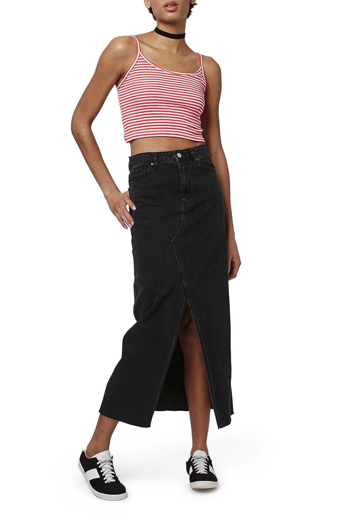 Alternate Image 2  - Topshop 'Bella' Stripe Crop Camisole