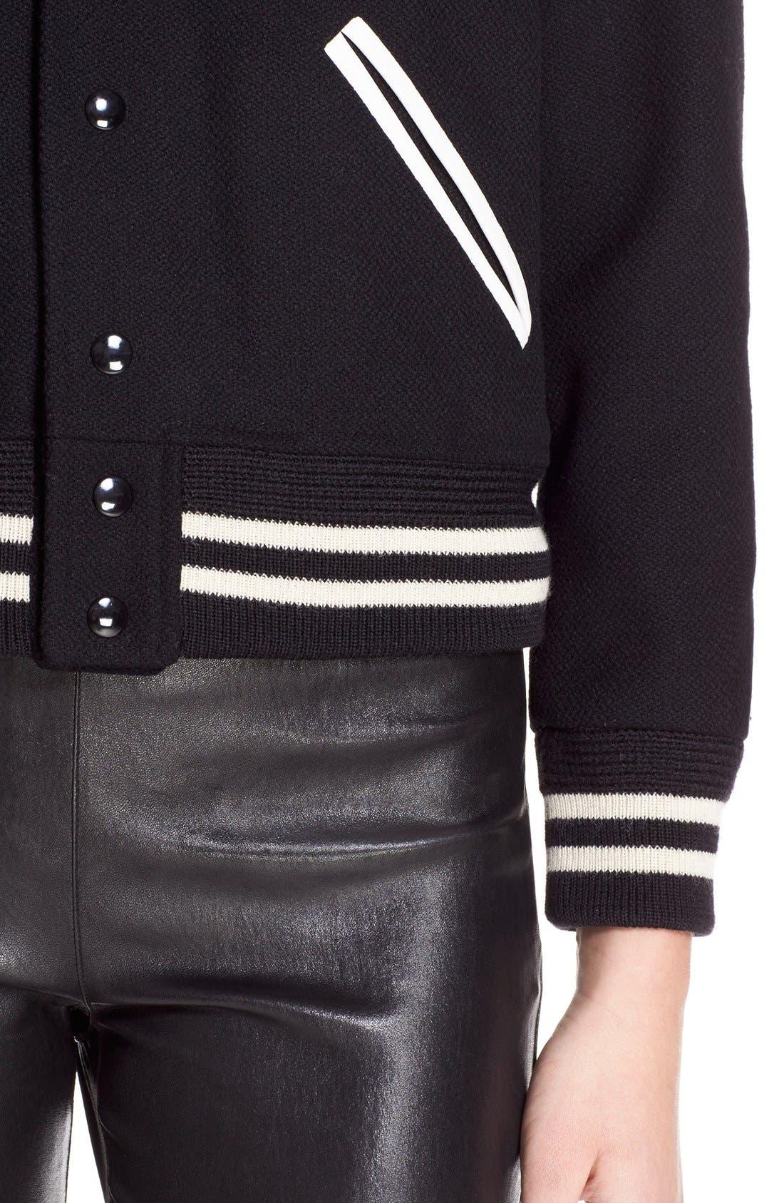 'Teddy' White Leather Trim Bomber Jacket,                             Alternate thumbnail 6, color,                             Black White