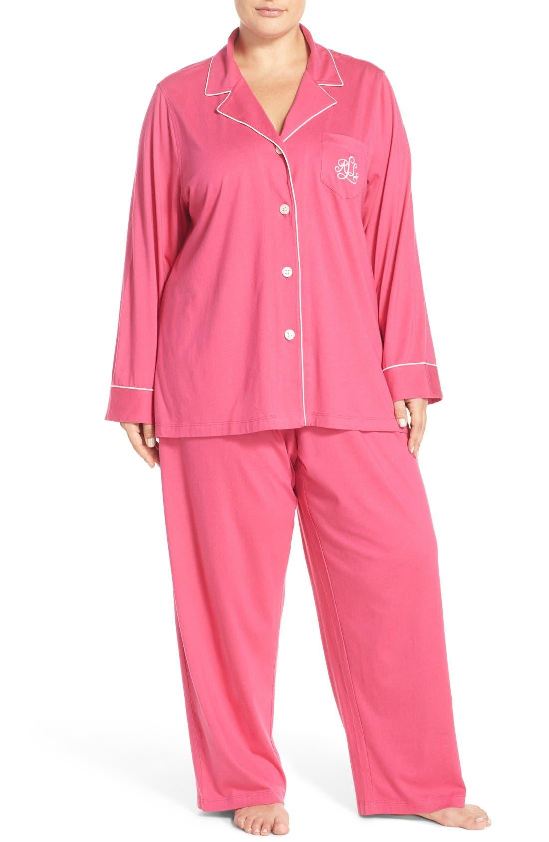 Alternate Image 1 Selected - Lauren Ralph Lauren Knit Pajamas (Plus Size) (Online Only)