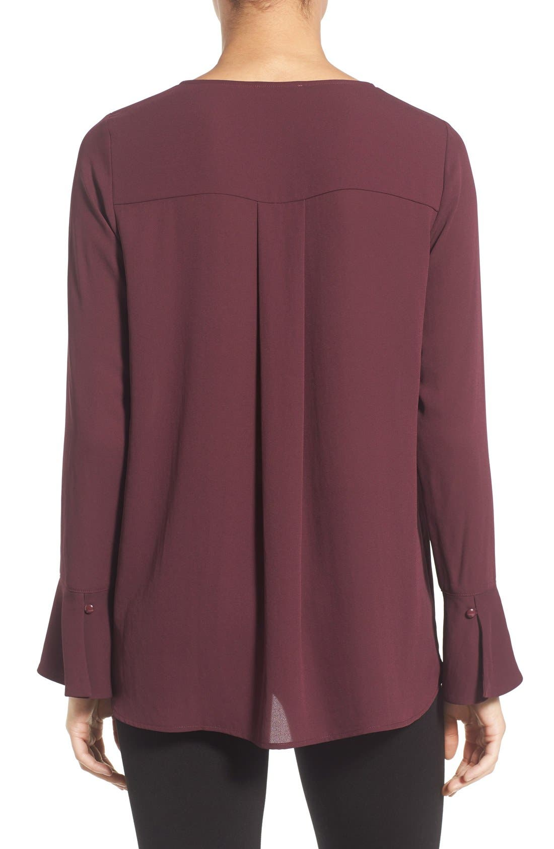 Bell Cuff High/Low Blouse,                             Alternate thumbnail 2, color,                             Burgundy Stem