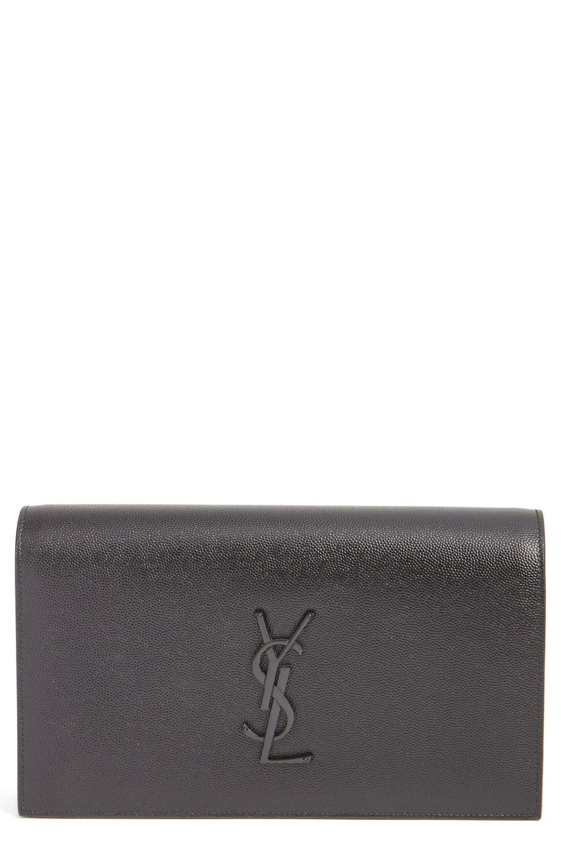 SAINT LAURENT Kate Pebbled Calfskin Leather Clutch