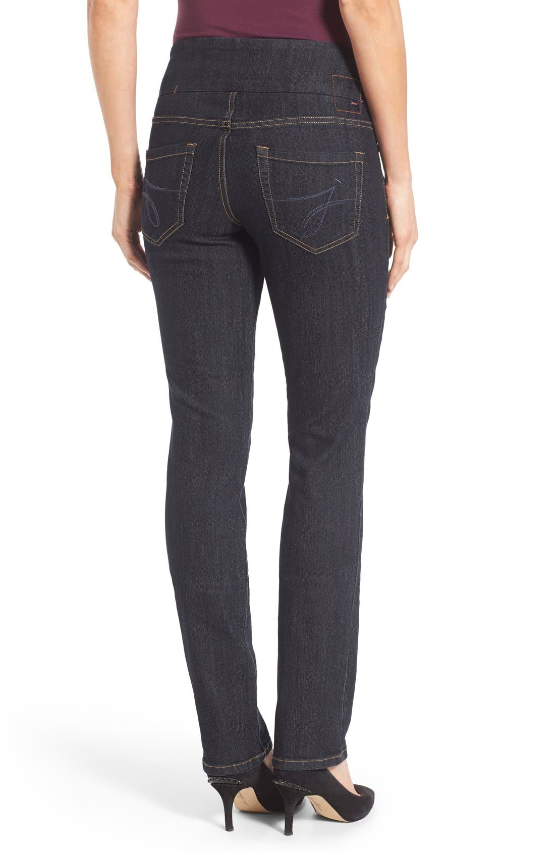 'Peri' Pull-On Stretch Straight Leg Jeans,                             Alternate thumbnail 2, color,                             Late Night Wash