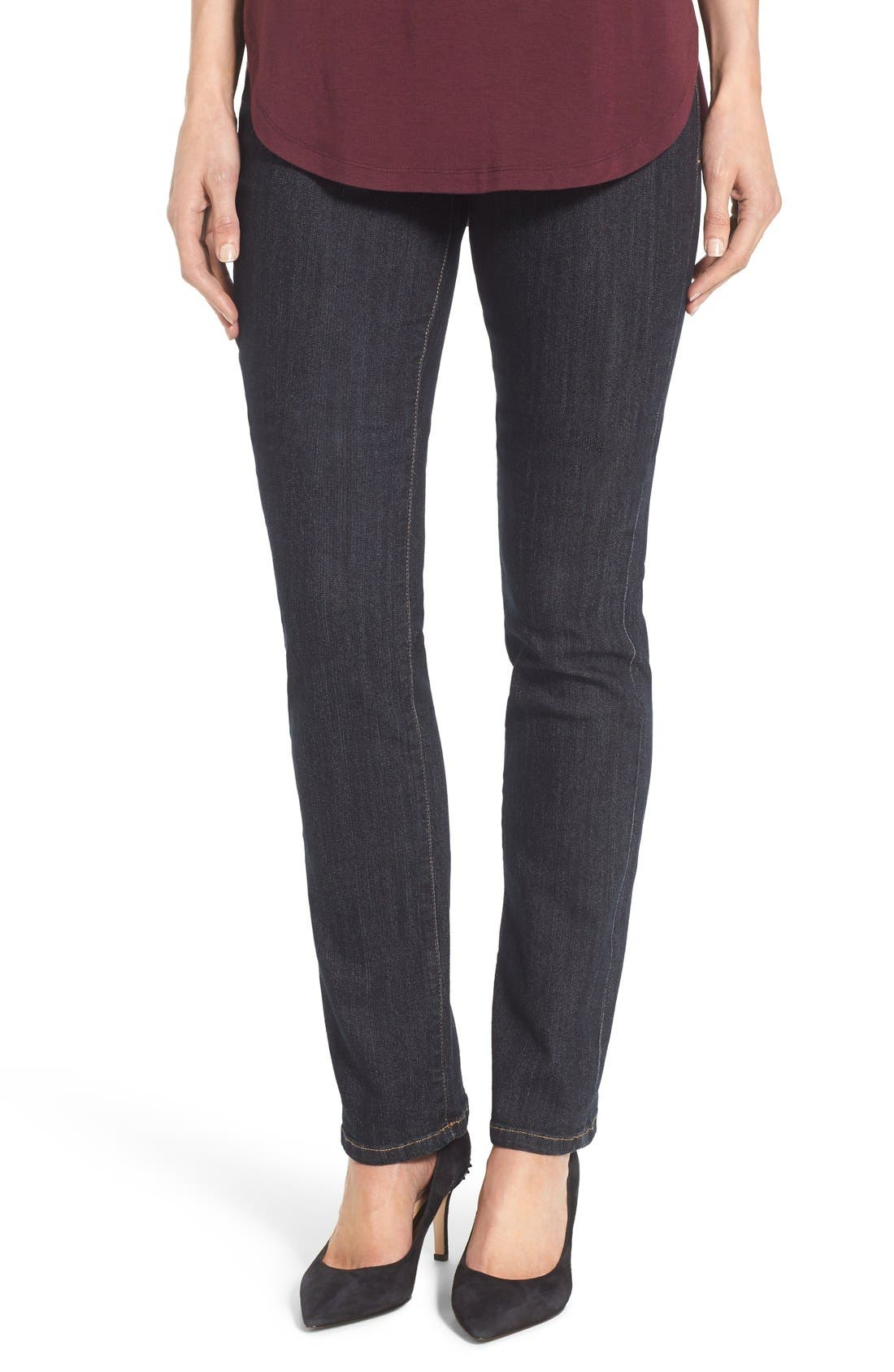 'Peri' Pull-On Stretch Straight Leg Jeans,                         Main,                         color, Late Night Wash