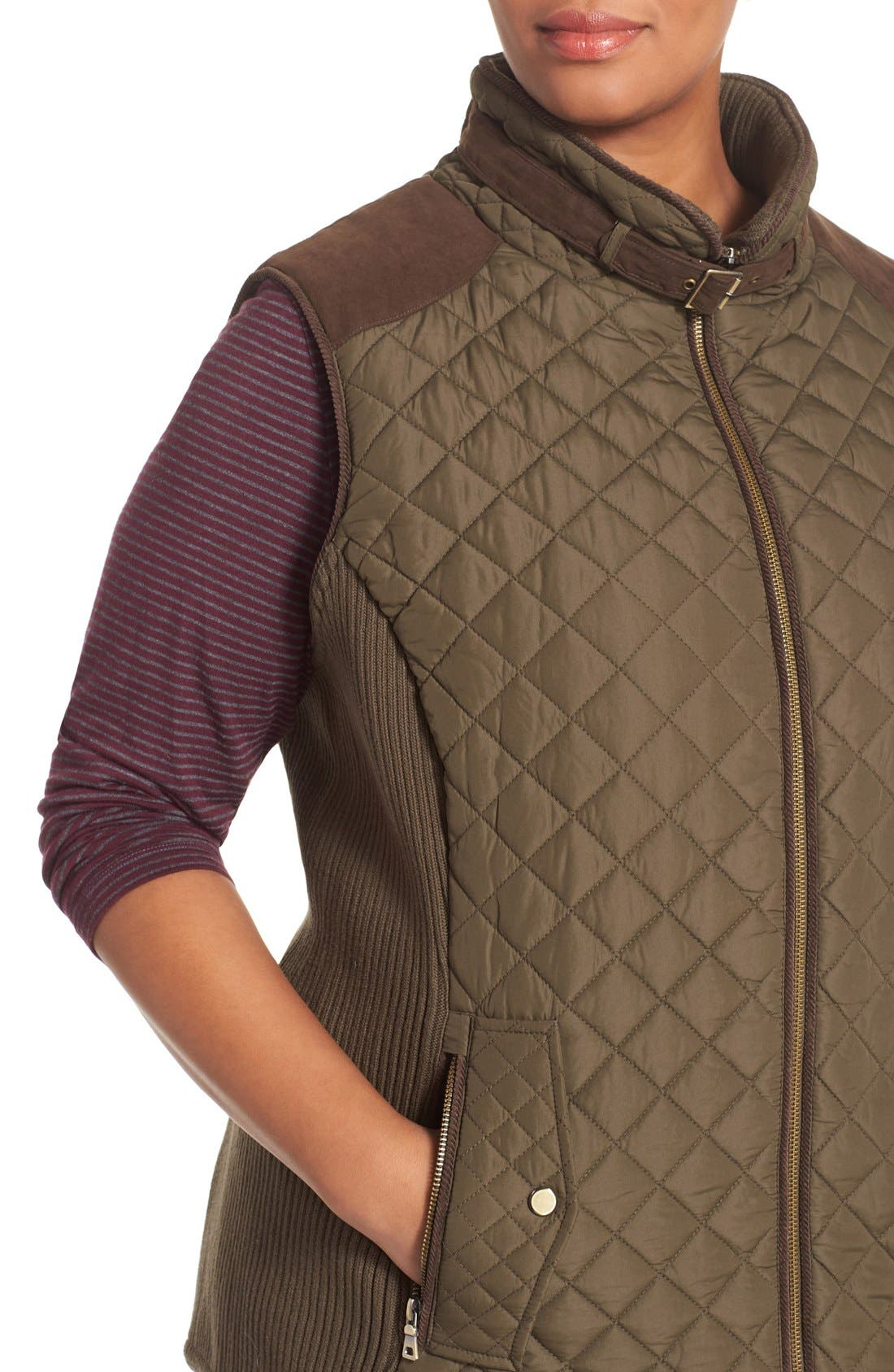 Quilted Vest with Faux Suede Trim,                             Alternate thumbnail 4, color,                             Fatigue