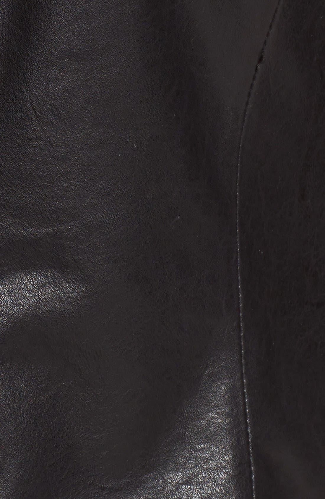 Fringe Trim Glen Plaid Faux Leather Moto Jacket,                             Alternate thumbnail 5, color,                             Black/ White Plaid