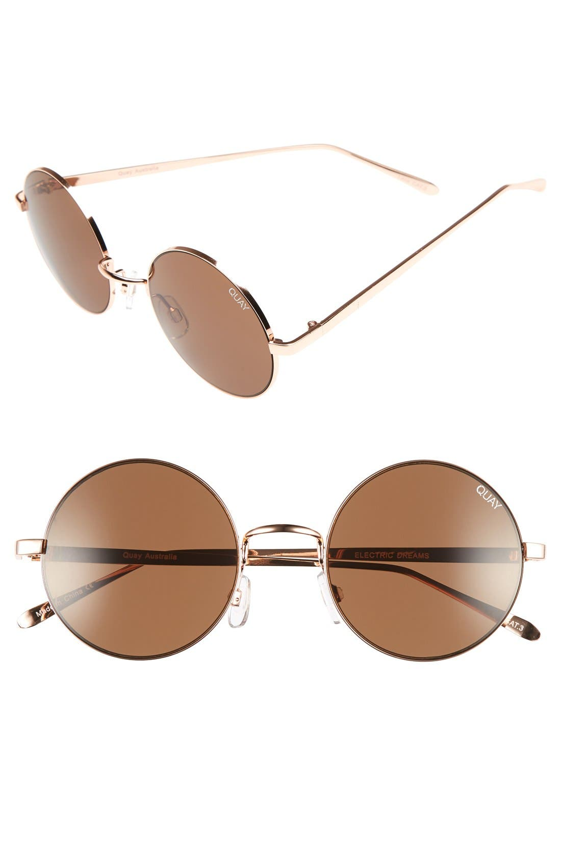 'Electric Dreams' 52mm Round Sunglasses,                             Main thumbnail 1, color,                             Rose Gold/ Brown