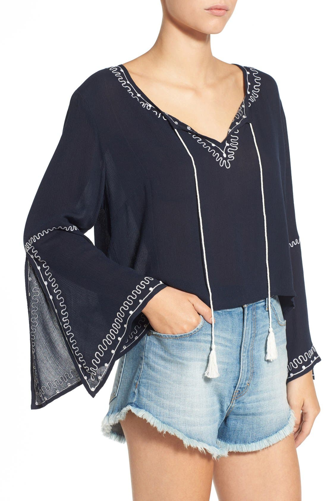 Alternate Image 4  - Band of Gypsies Embroidered Bell Sleeve Blouse