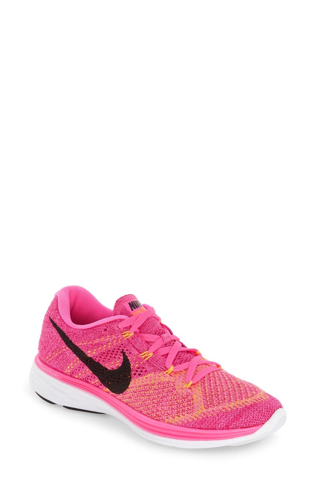 'Flyknit Lunar 3' Running Shoe,                             Main thumbnail 1, color,                             Pink Blast/ Black/ Orange