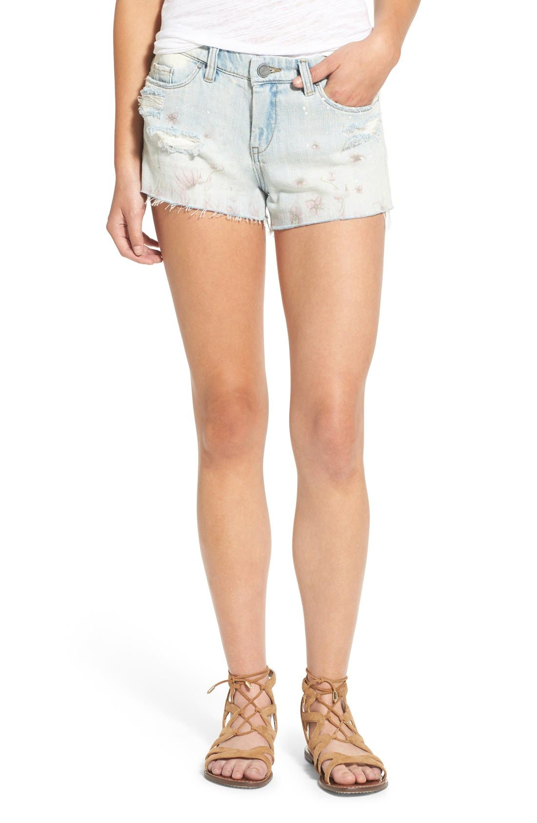 Main Image - BLANKNYC 'Kitty Flower' Distressed Cutoff Denim Shorts