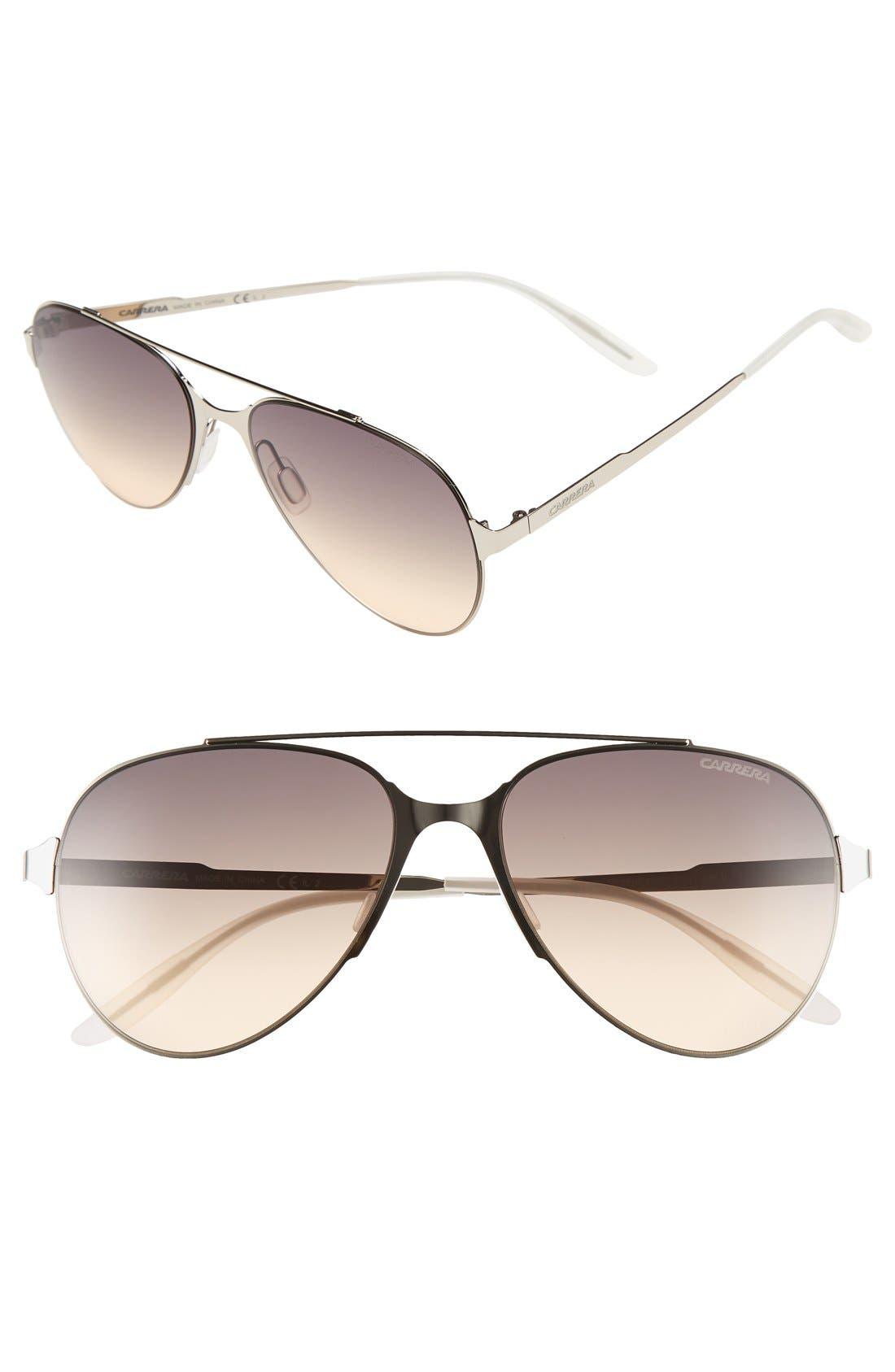 '113/S' Aviator Sunglasses,                             Main thumbnail 1, color,                             Matte Light Gold/ Dark Grey