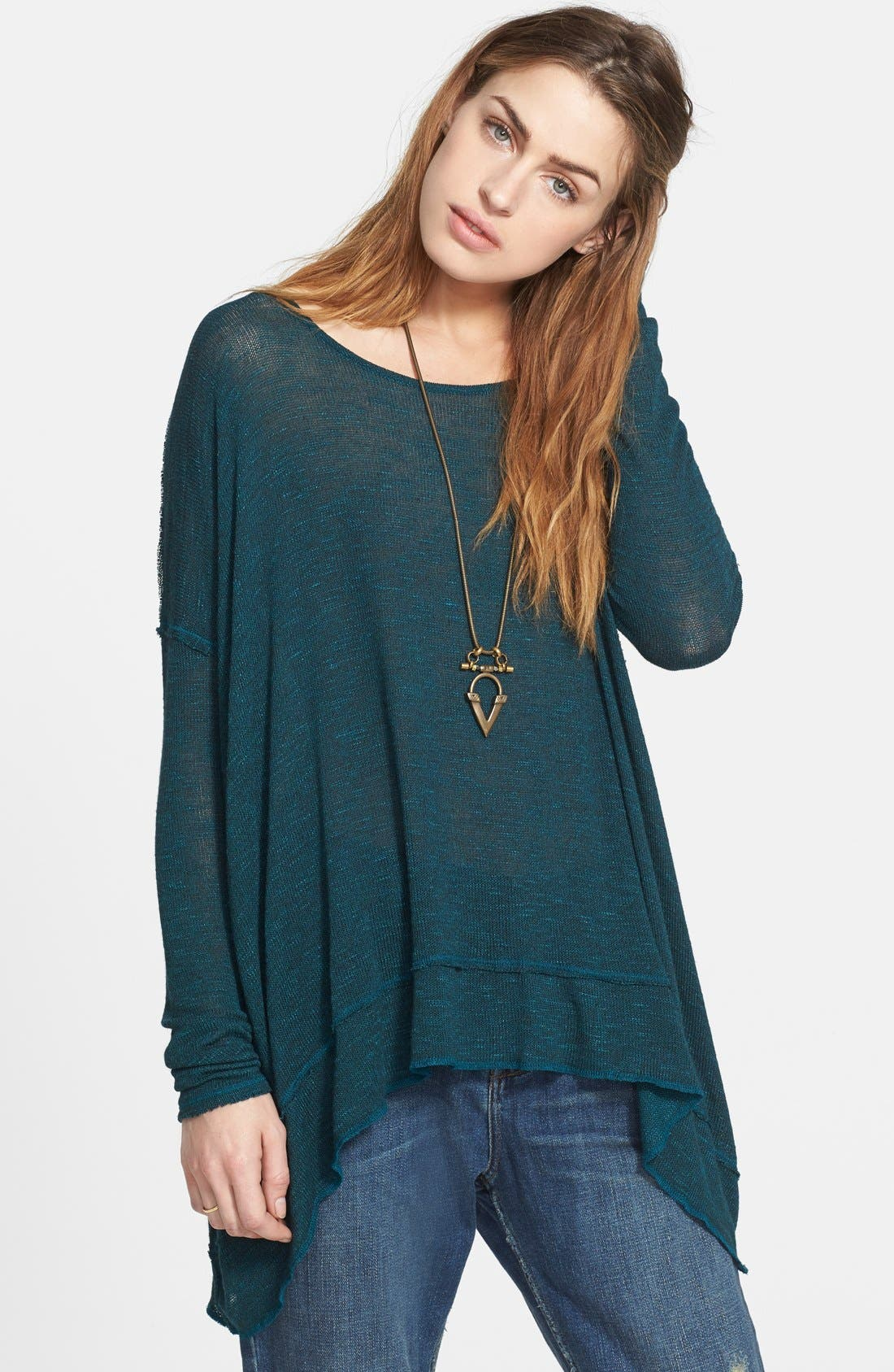 Main Image - Free People 'Shadow' Oversize Hacci Open Back Top