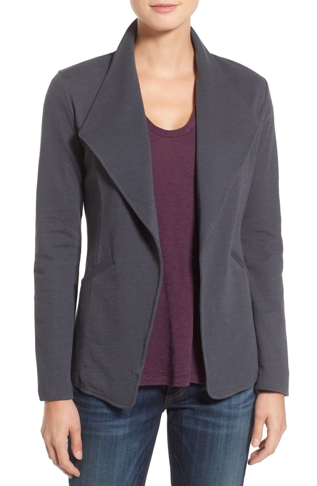 Alternate Image 1 Selected - Caslon® Cotton Knit Open Front Blazer (Regular & Petite)