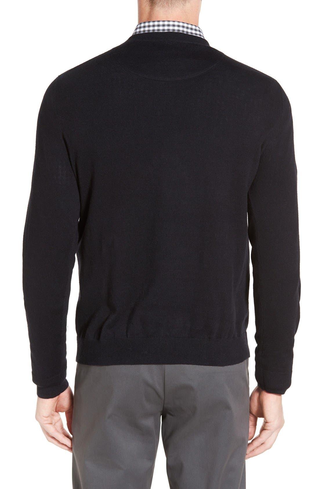 Cotton & Cashmere Crewneck Sweater,                             Alternate thumbnail 2, color,                             Black Caviar